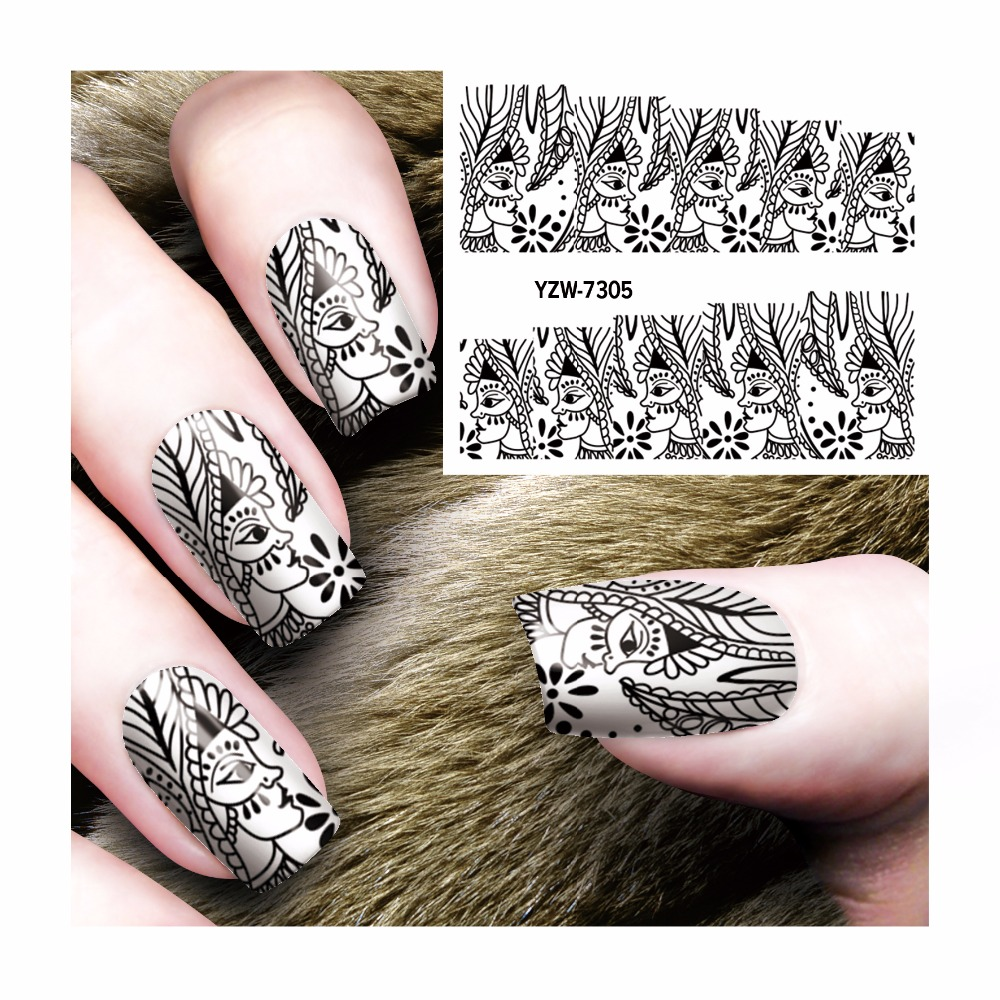 Zko Black Ladies Section Designs Watermark Stickers Nail Art
