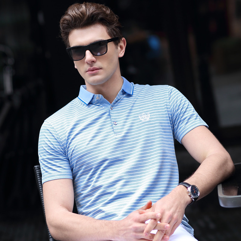 2018 Summer new arrival   polo   shirt men short sleeve cotton striped business casual plus size XXXL embroidery homme camisa 8756