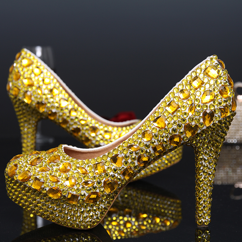 Wedding Shoes Woman Sexy High Heels Platform Pumps Gold Bridal Ladies Shoes Crystal Party Rhinestone Round Toe Slip On Shoes newest flock blade heels shoes 2018 pointed toe slip on women platform pumps sexy metal heels wedding party dress shoes