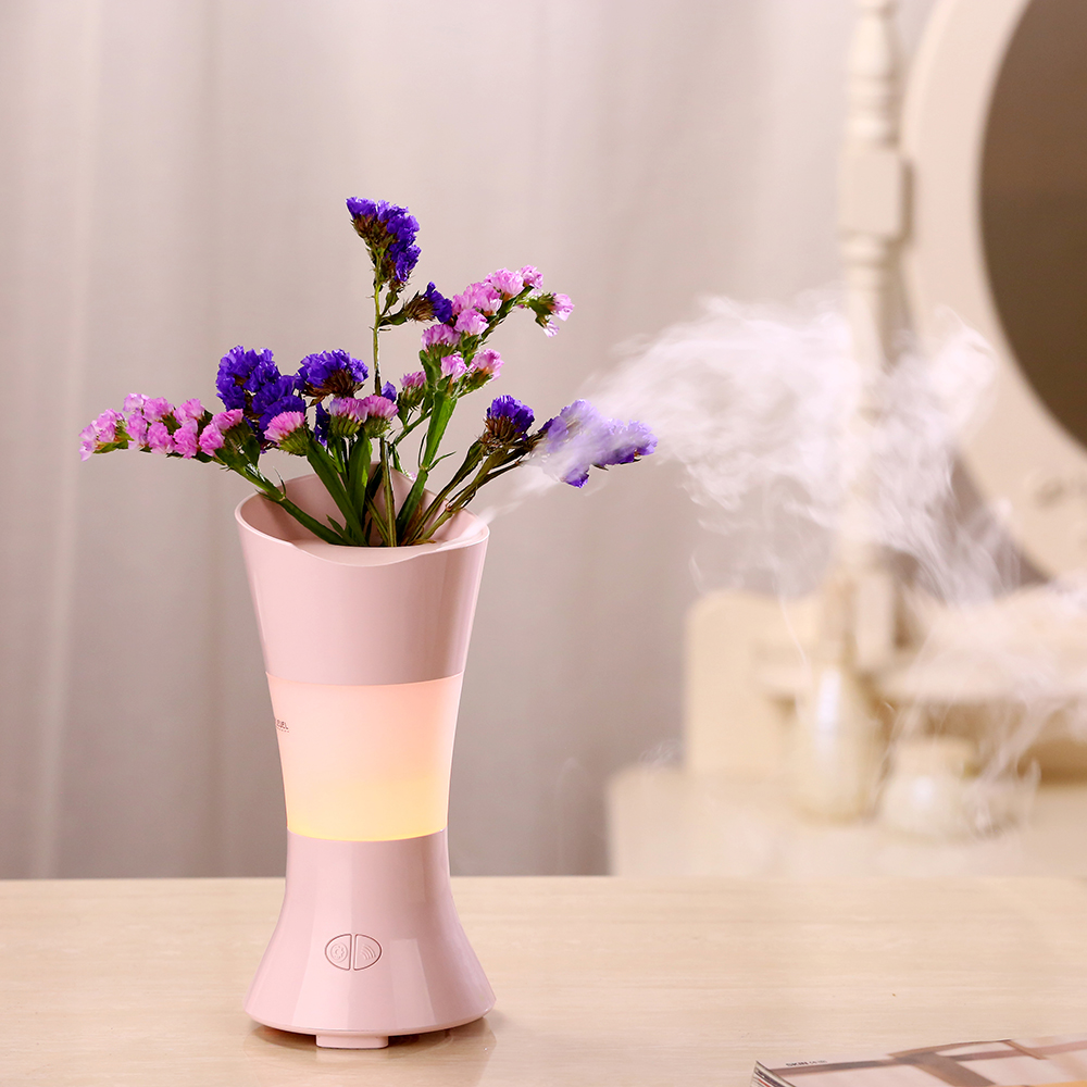 100ML Flower Vase Aroma Diffuser Ultrasonic Air Humidifier with Colorful LED Lights for Home Aromatherapy Essential Oil Diffuser