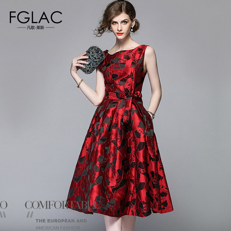 FGLAC Women dress Fashion Elegant Slim High waist Vintage dress A-Line Knee-Length summer dress Jacquard Party dresses ...