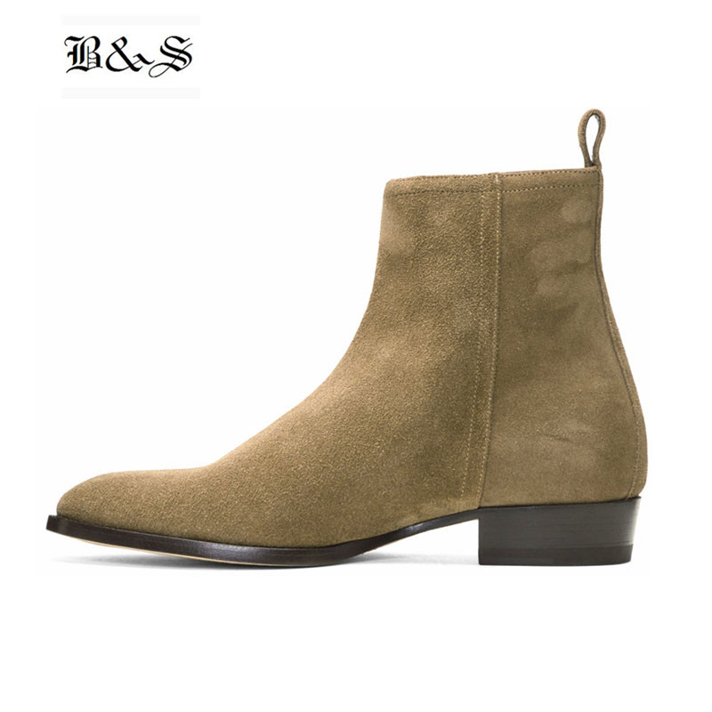 Black& Street Luxury Designer Handmade Banquet Zipper Chelsea Boots Charming Man wedge pointed Toe Dress Wedding  Party ShoesBlack& Street Luxury Designer Handmade Banquet Zipper Chelsea Boots Charming Man wedge pointed Toe Dress Wedding  Party Shoes