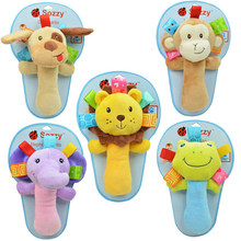 0M+ Soft Animal Baby Toy Ring Bell Baby Plush Rattle Squeaker Rod Cute Cartoon Animal Musical Dog Frog Monkey Lion Cow Plush Toy