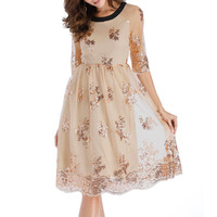 BLINGSTORY Europe Vintage Half Sleeve Embroidered Women's O neck Sleeve Sequin Dresses MKD2128