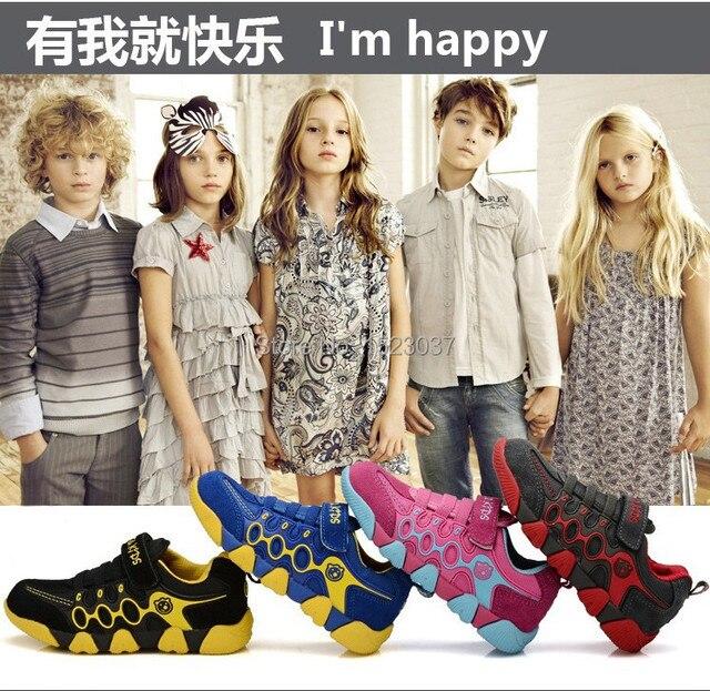 Новые Chilren спортивная обувь мода кроссовки холст для детей Badys / девочки не скользит дышащая кожа свободного покроя сетки обувь