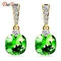 DuoTang Fashion Stud Earrings Trendy Zinc Alloy Geometric Rhinestone Green Blue Crystal Earring Statement Jewelry Women Gift