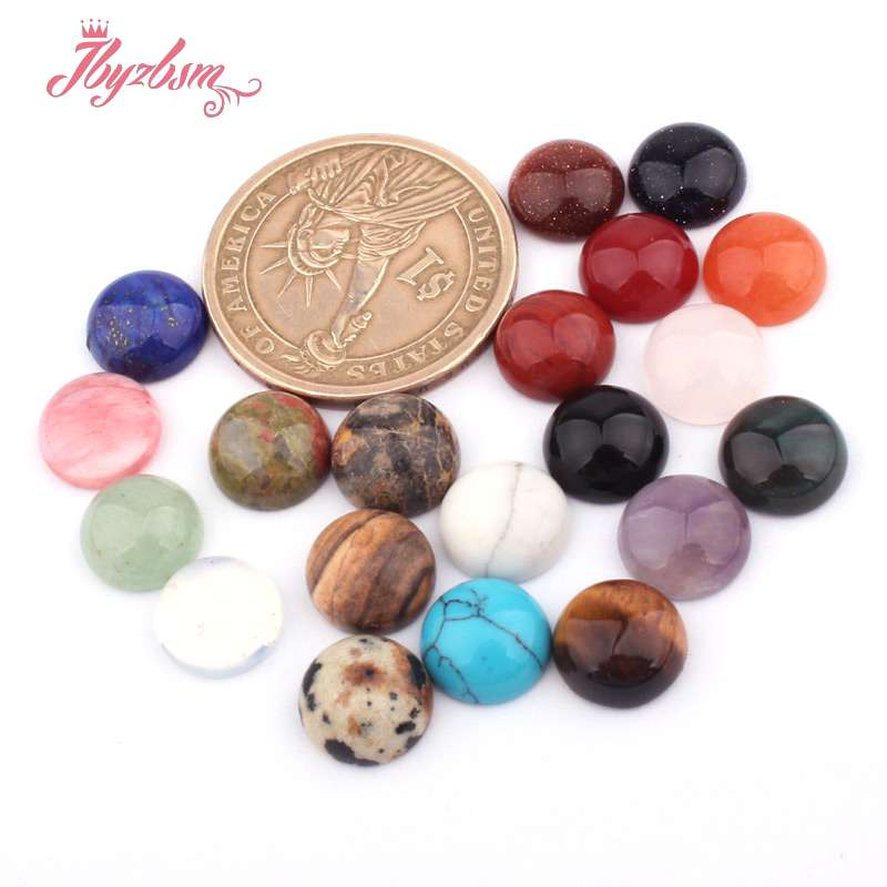10mm Coin Round CAB Cabochon Flatback Dome Undrilled Natural Stone Loose Beads For DIY Jewelry Making Craft 10pcs Assorted Stone