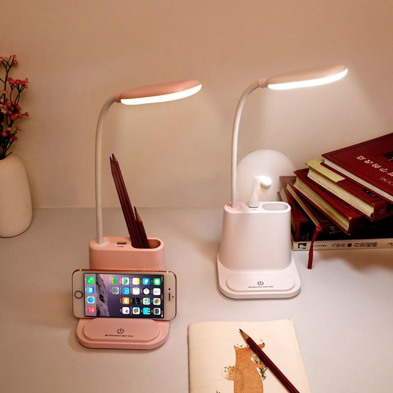 0-100% Touch możliwość przyciemniania lampa stołowa led USB akumulator regulacja dla dzieci dzieci do czytania nauki nocna sypialnia salon