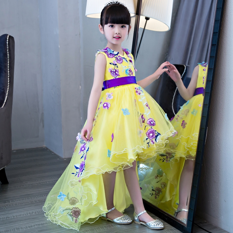 2017 New Korean Sweet Elegant Kids Children Embroidery Flowers Princess Dress With Tail Girls Wedding Birthday Pageant Dresses