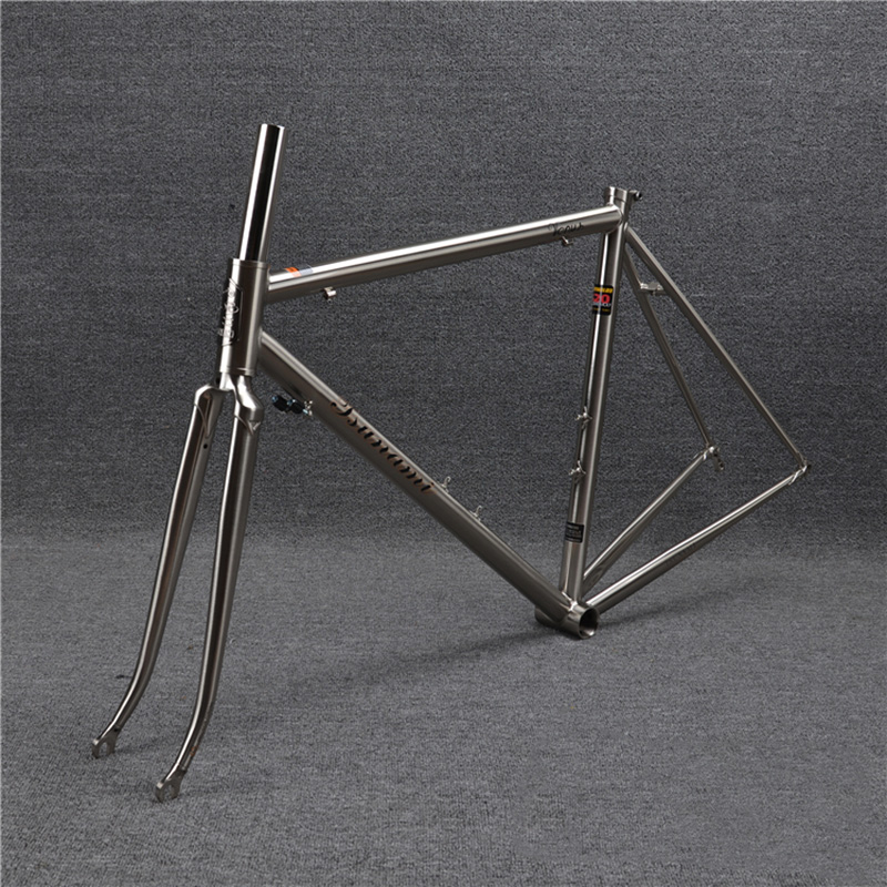 TSUNAMI 520 with 4130 CR-MO Steel Road Bike Frame Fork 700C Classic Frameset Brush Silver Color