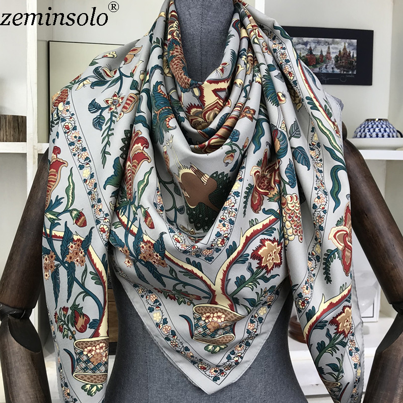 100% Silk Scarf Women Large Shawls Women's Scarf