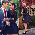 2016 New Summer Sexy Pretty Mini Short Black Beaded Appliques Women Special occasion Cocktail Party Dress robe de cocktail