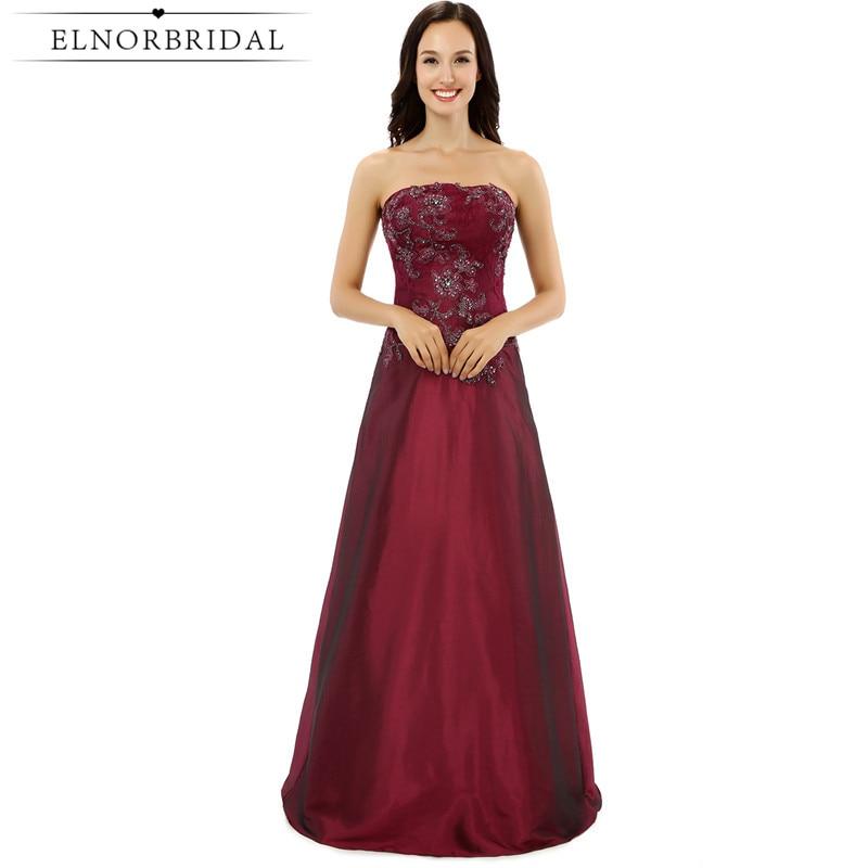 Elnorbridal Burgundy Bridesmaid Dresses Long 2018 Vestido Madrinha Casamento Longo A Line Wedding Guest Dress