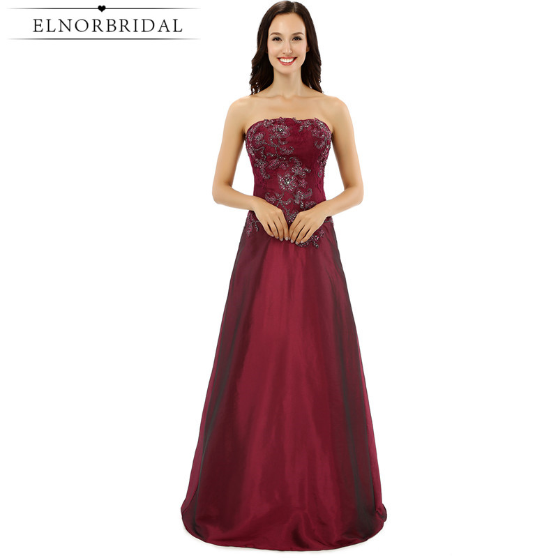 Elnorbridal Burgundy   Bridesmaid     Dresses   Long 2018 Vestido Madrinha Casamento Longo A Line Wedding Guest   Dress