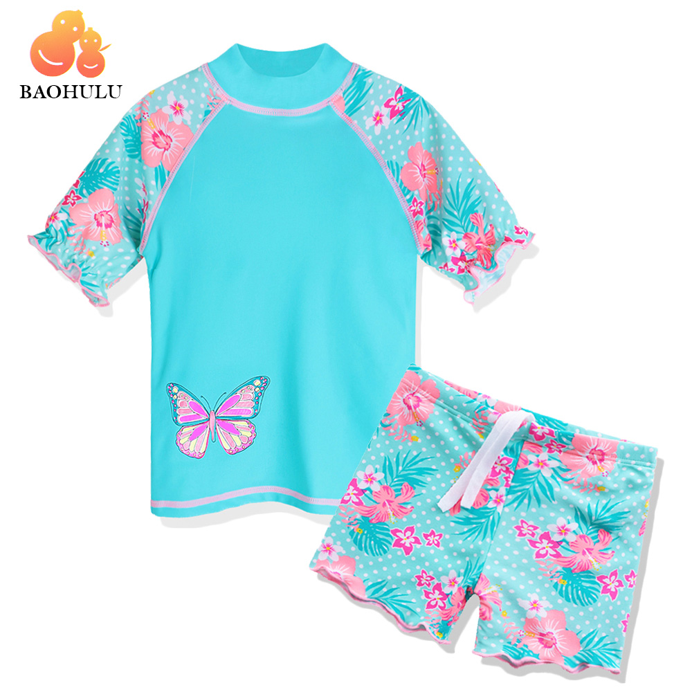 BAOHULU 2017 Summer Print Butterfly Baby Girls Swimsuit Children Swimwear Girl UPF50+ Kids Swimming Suits Beach Sun Suit Cyan funfeliz flamingo swimsuit for girls 2 8 years one piece girls swimwear cute unicorn kids swimming suit children bathing suits