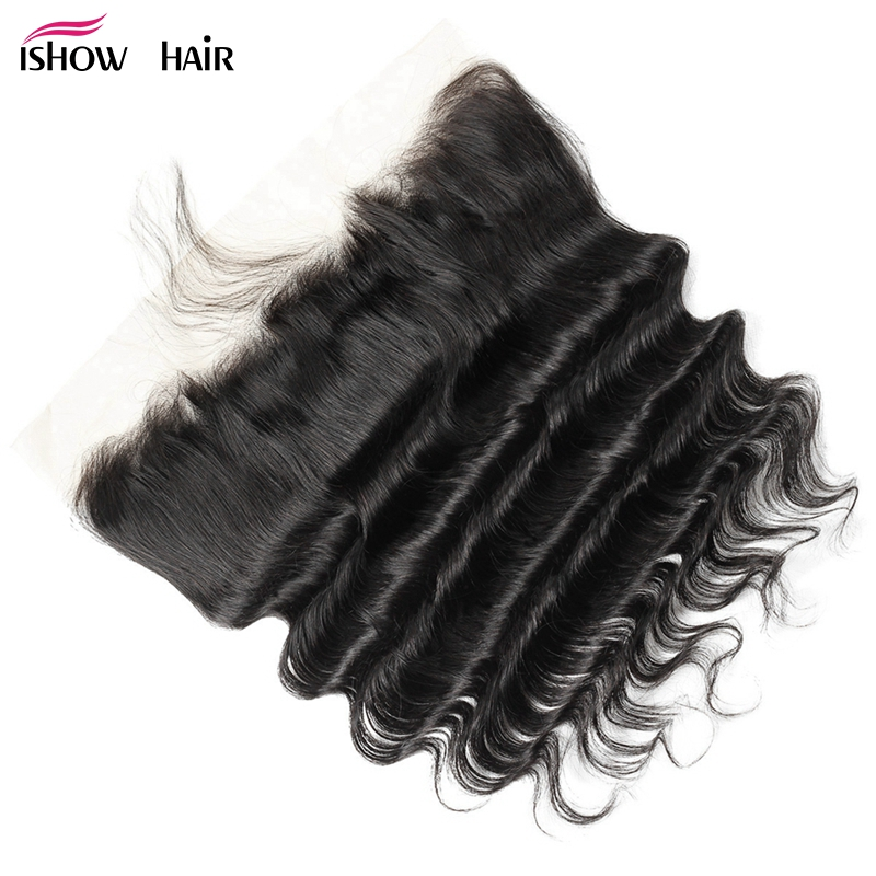 Ishow 13X4 Lace Frontal Closure Brazilian Loose Deep Wave Frontal Non Remy Human Hair Bundles Ear To Ear Lace Frontal Closure(China)