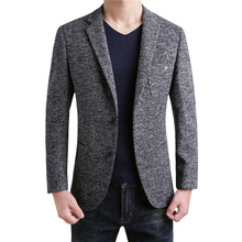 2018 Casual Wool Blazers Business High Quality British Style Slim Classic gray Clothing Men Suit Jacket Winter Male Coat