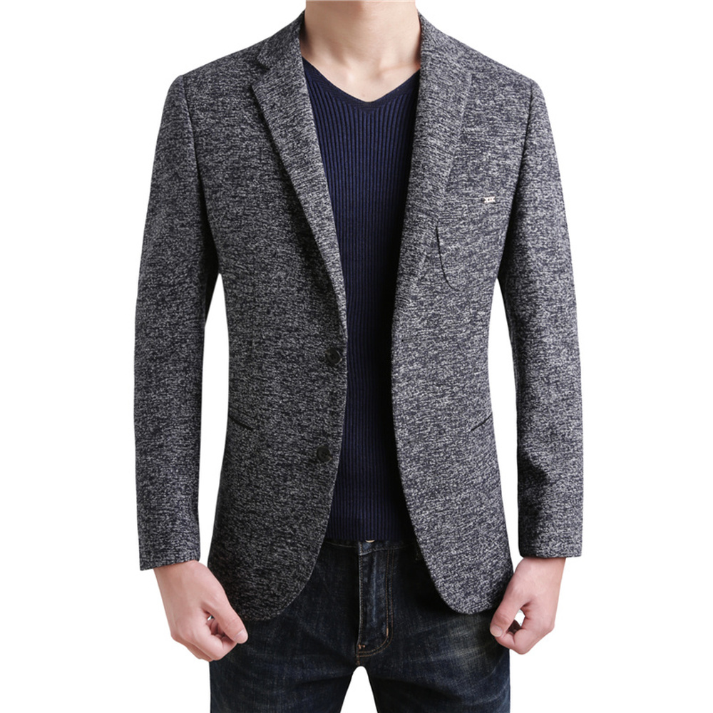 2018 Casual Wool Blazers Business Casual High Quality British Style Slim Classic gray Clothing Men Suit Jacket Winter Male Coat