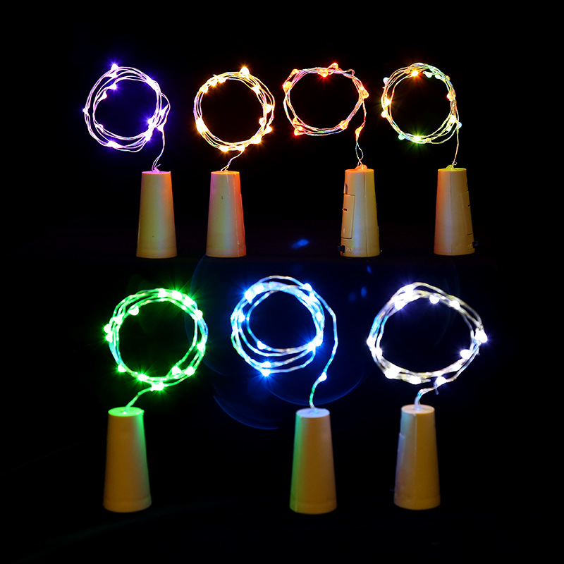 New Year 1M 2M LED Silver Wire String Light Bottle Stopper Fairy Garland For Glass Craft Christmas Decoration Battery Powered