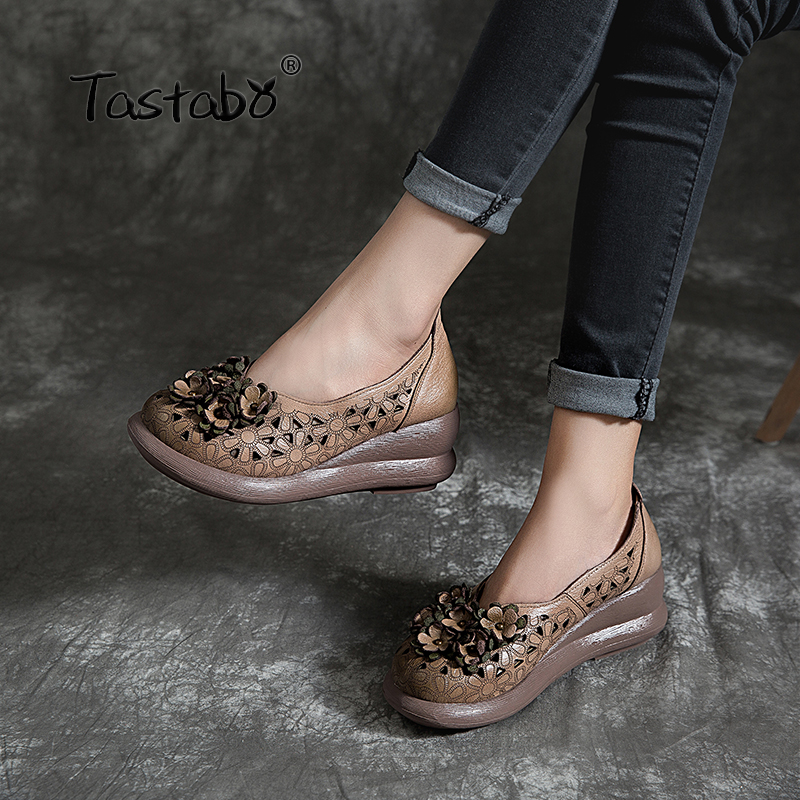 Tastabo 2019 Ladies Hole Shoes Simple Casual Ladies' Daily Shoes Comfortable Lining Handmade Floral Upper Shallow Mouth Shoes