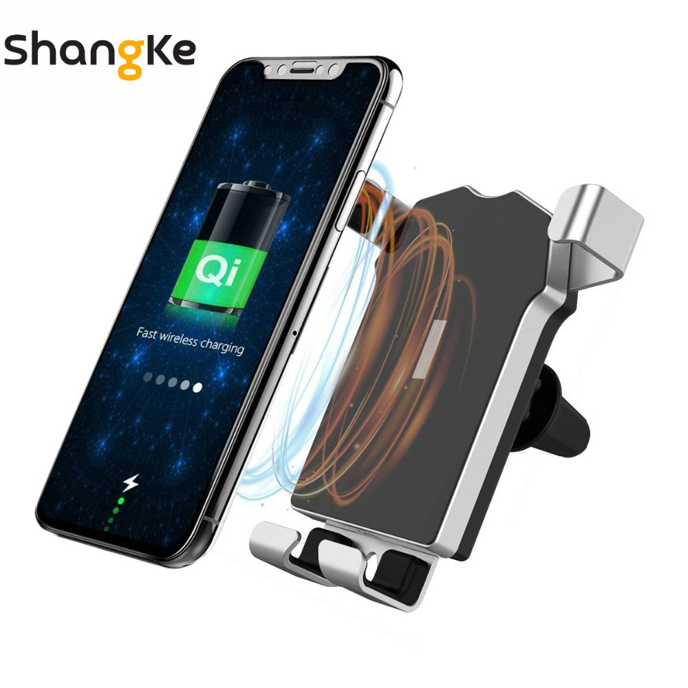 Car Wireless Charger 10W Gravity Stand Fast Ventilation Charger For iPhone XS XR X 8 8 Plus For Samsung Galaxy S8 S7 / S7 Edge