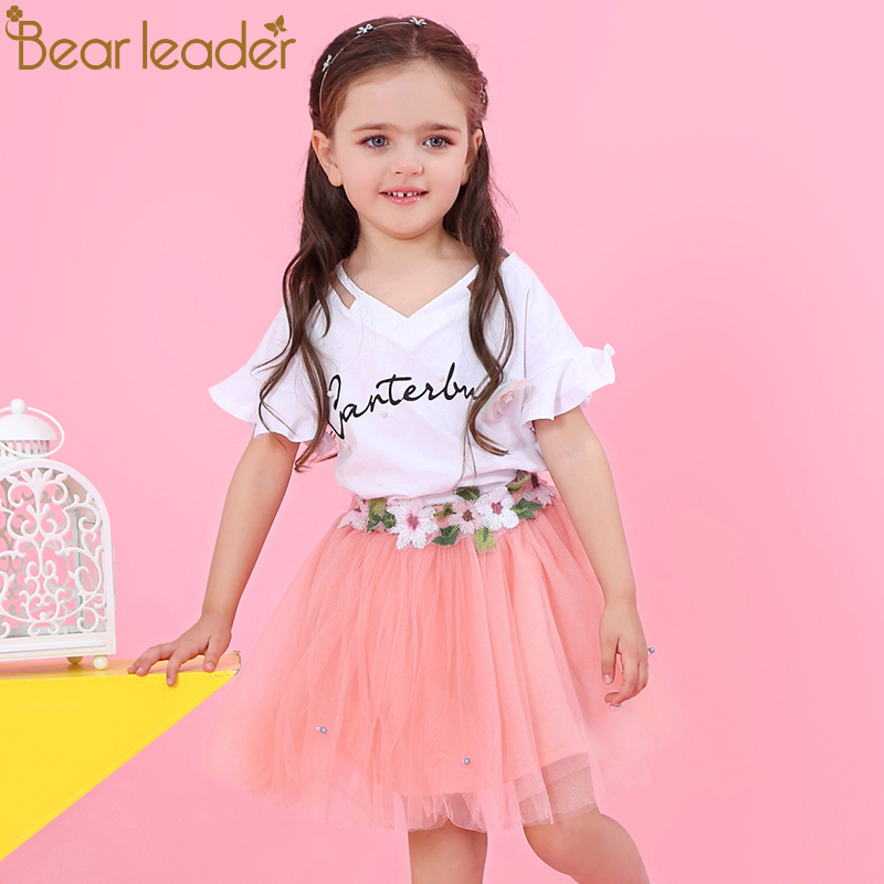Bear Leader Girls Clothing Sets 2018 New Brand Girls Clothes Petal Sleeve Letter T-shirt+Floral Voile Skirts 2Pcs Girls Dress bear leader girls skirt sets 2018 new autumn