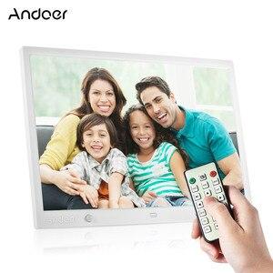Image 1 - Andoer 15 Inch Large Screen LED Digital Photo Frame Desktop Album HD Calendar Functions with Motion Detection Sensor Touch Keys