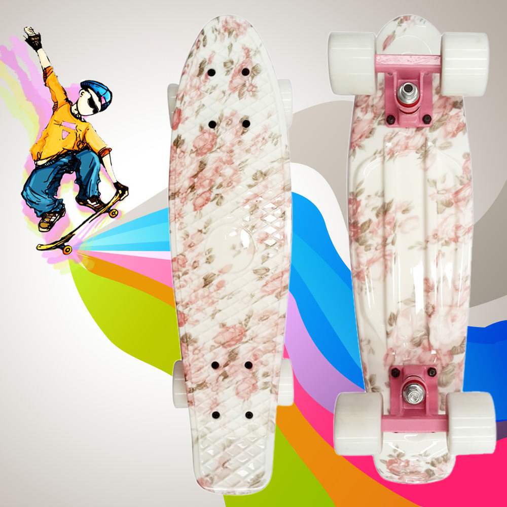 Floral Pattern Retro Skateboard Complete 22 inch Skate Board Outdoor Sport Longboard 100kg Load Mini Cruiser PP Board + PU Wheel