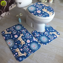 (Ship From US) Bathroom Non Slip Blue Ocean Style Skidproof Pedestal Rug  Lid Toilet Cover Bath Mat Bathroom Set Non Slip Carpet Drop Shipping