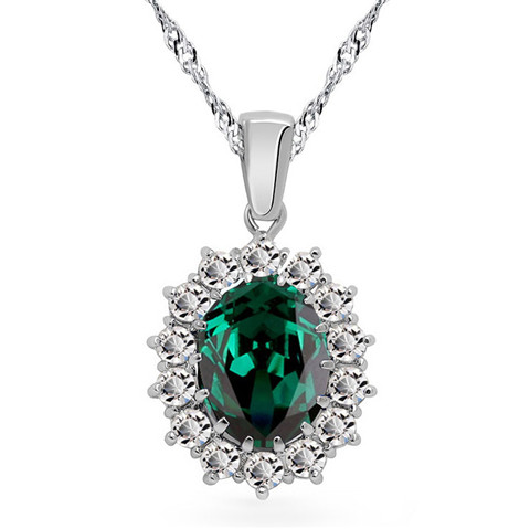 free shipping stamp fashion brand Blue green white William Kate Austrian Crystal zircon rhinestones pendant necklace jewelry