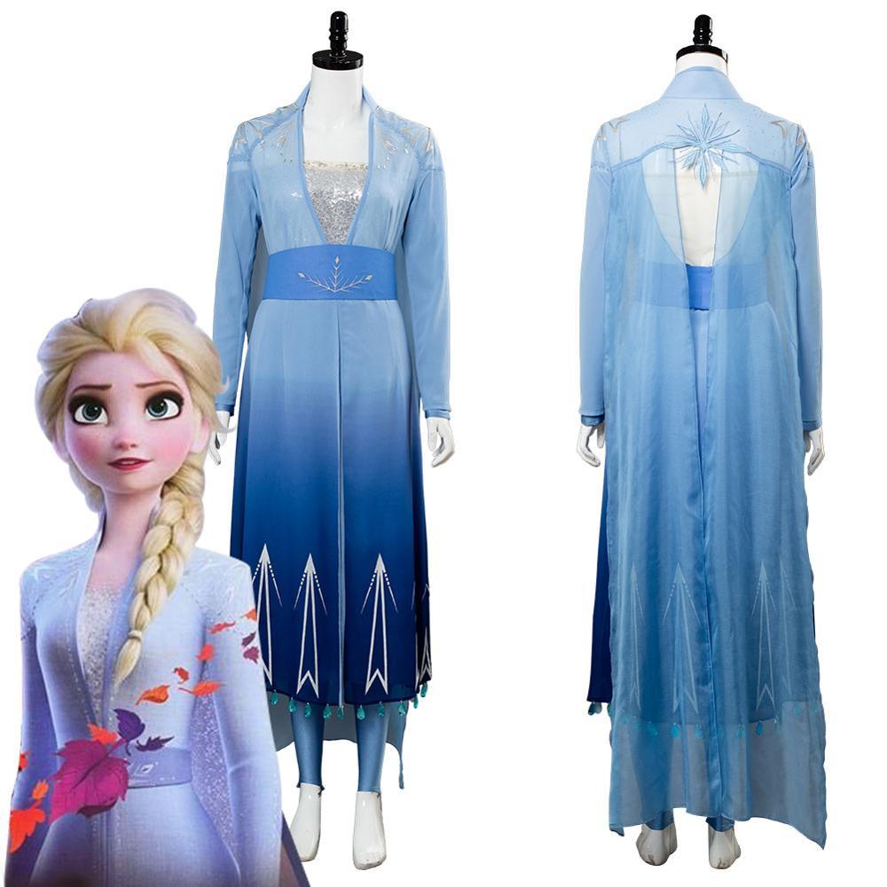 Adult Princess Elsa Cosplay Costume Dress Full Set Women Girls Movie Halloween Carnival Costumes Blue Version Custom Made