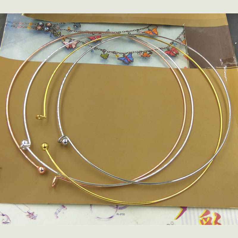 1pc Copper Wire Hoop Adjustable Necklaces Bezel With Easy Clasp For DIY Jewelry Making Metal Choker Collar 130mm Ring Supplier