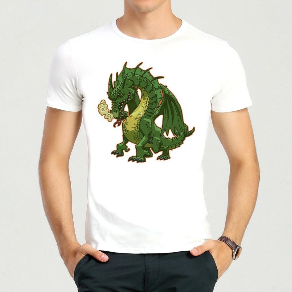 Moda blanco verde dragón Camiseta de manga corta verde dragón Top Camisetas  Tees hombres mujeres 0113b0a767769