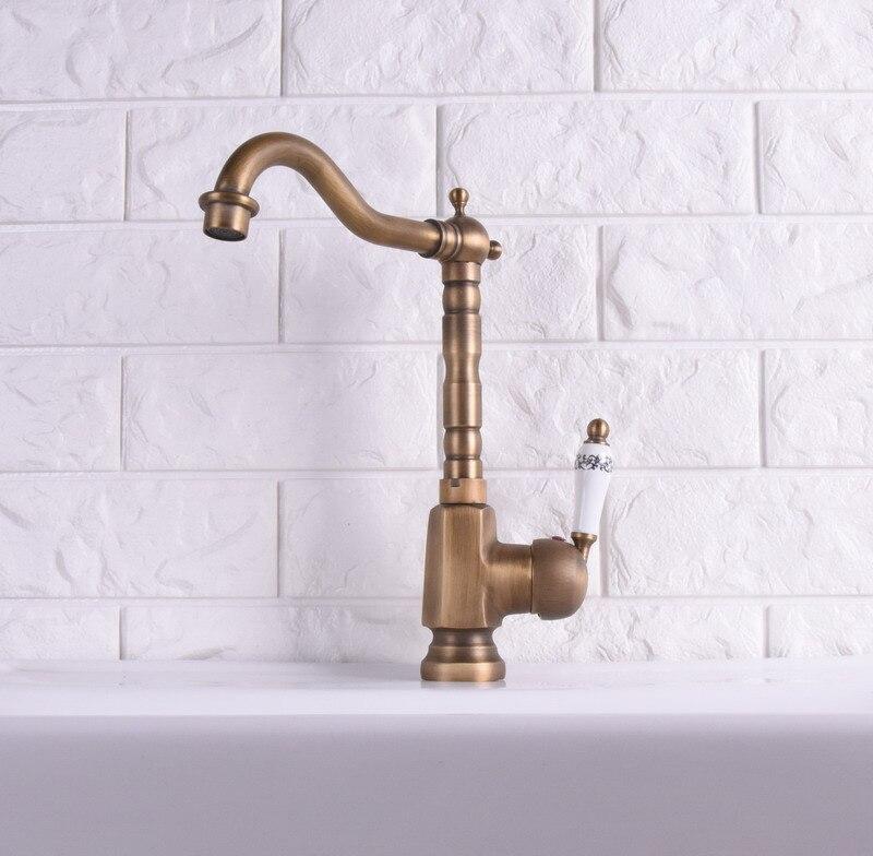 Laiton Antique finition robinet de cuisine Bronze unique en céramique poignée eau chaude et froide cuisine évier robinet salle de bains bassin robinets asf114 - 5