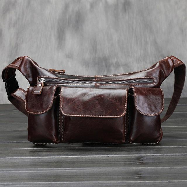 Qualidade superior dos homens de Couro Genuíno Real Oil Wax bolsa de Viagem Do Couro Cinto Masculino Hip Bum Retro Multi-Bolso Fanny Saco Pacote de cintura