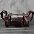 Top Quality Men's Genuine Leather Real Oil Wax Cowhide Travel Male Belt Hip Bum Retro Multi-Pocket Fanny Waist Pack Bag
