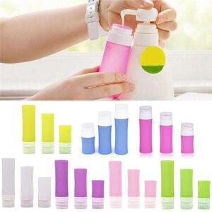 Image 3 - Botella de silicona rellenable cosmética portátil loción de viajero recipientes para champú de baño