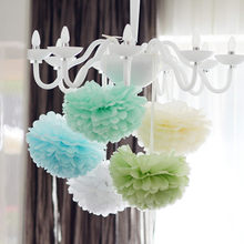 4''(10CM) Tissue Paper Pom Poms DIY Crafts White Paper Flower Ball Pompom For Home Garden Wedding Birthday Party Decoration(China)