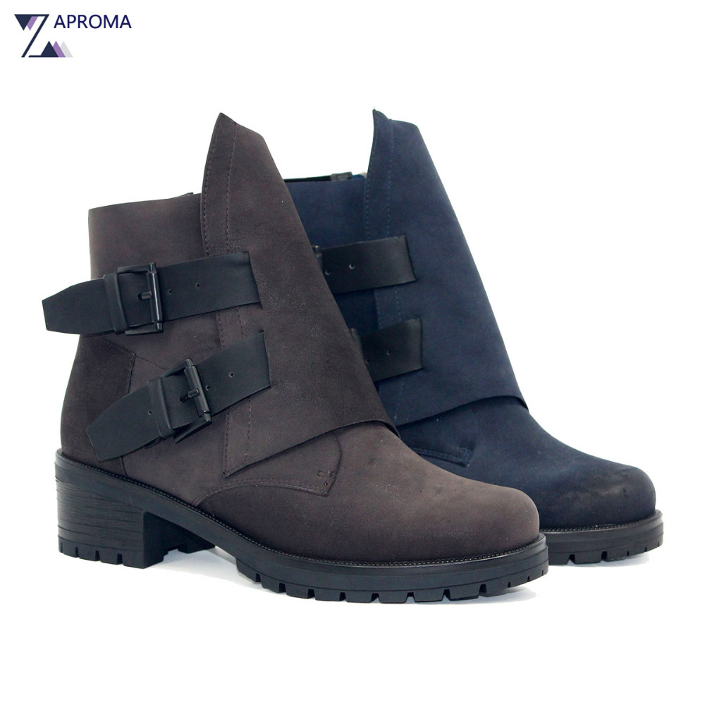 Platform Western Boots Women Vintage Double Buckles Fleeces Navy Blue Grey Ankle Boots Square Med Heel Autumn Winter 2018 Shoes 16pcs stainless steel full window trim without center pillar cover 2016 2017 for opel astra k hatchback car styling