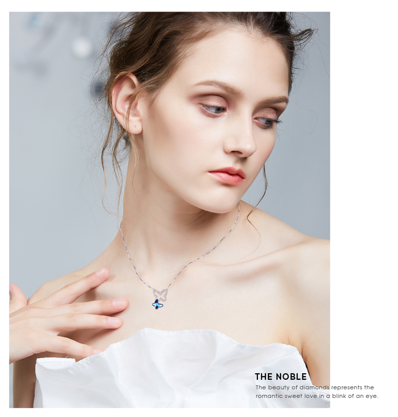 Blue Crystals from Swarovski Butterfly Necklace (8)