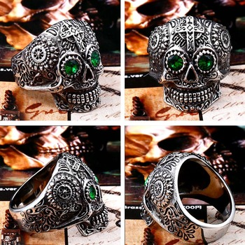 BEIER Stainless Steel Gothic gold Carving kapala skull mask Ring Biker Hiphop rock Jewelry Unique fashion Gift for men BR8-327 1