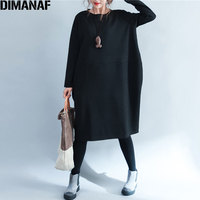 DIMANAF נשים שמלת סתיו כותנה בתוספת גודל O-צוואר מוצק מקרית נקבה הדפס פסים שרוול ארוך שמלות רופפות בסיסית 2017 החורף