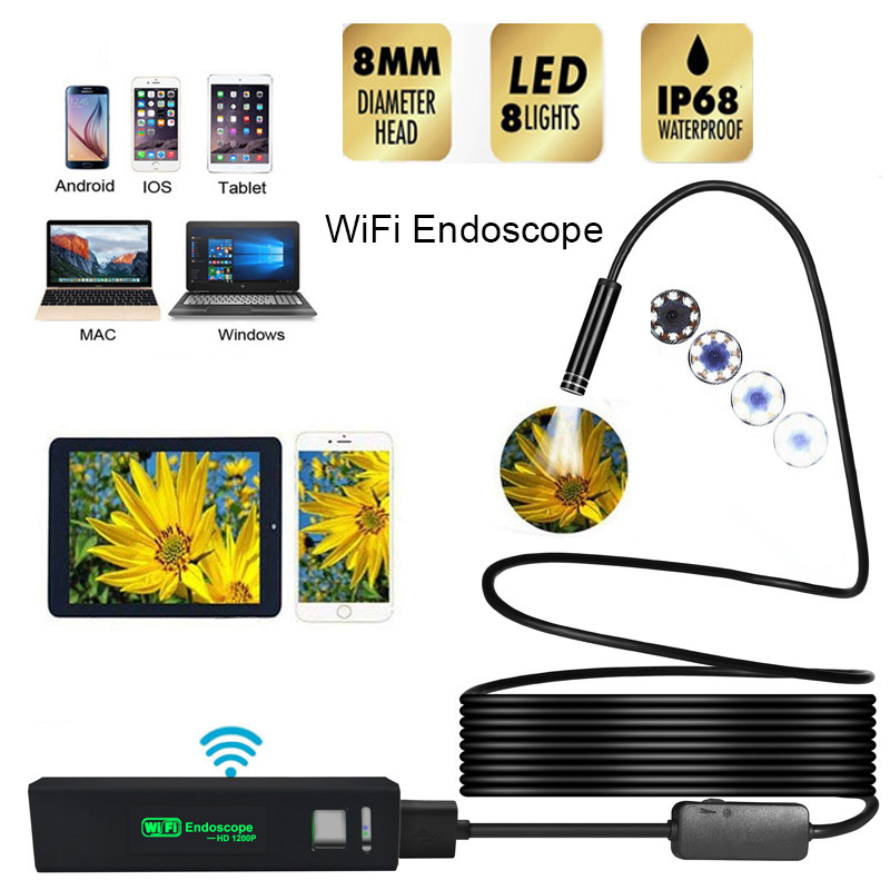 8MM HD 1200P Wifi Endoscope Camera USB IP68 Waterproof Borescope Semi Rigid Tube Wireless Video Inspection For Android/iOS