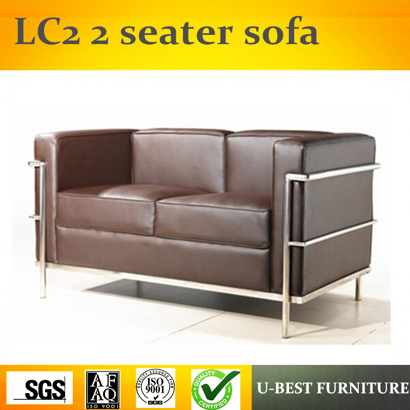 U-BEST Living room furniture 3 seater replica real leather Le Corbusier LC2 Sofa, Le Corbusier replica dg home кушетка le corbusier chaise lounge black