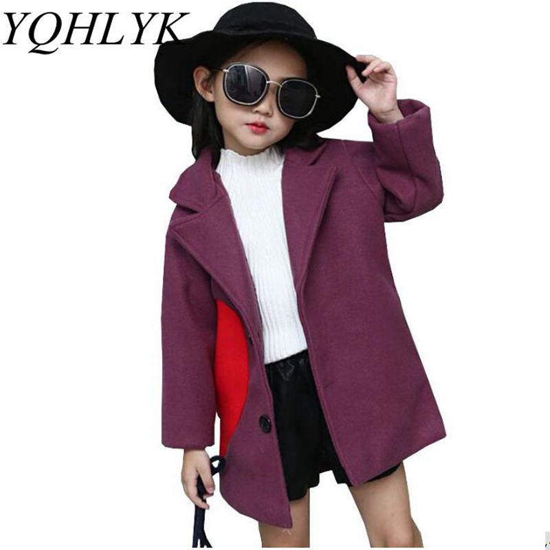 New Fashion Autumn Winter Girls Coat 2018 Korean Children Long-Sleeve Lapel Woolen Overcoat Casual Comfortable Kids Clothes W136 sophisticated style lapel ripple buttons long sleeve coat for women