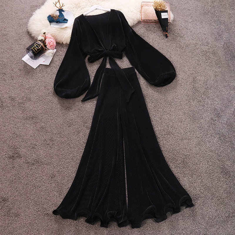 HISUMA summer New women deep V-neck lantern sleeve chiffon shirt + High Waist ruffles flare pants suits female two piece sets