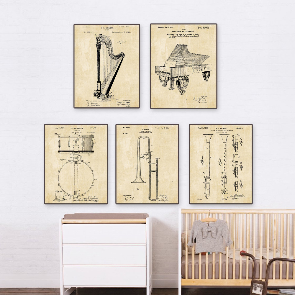 Paten antik, Instrumen seni, G1 poster set 5 in 1 pembibitan pesawat - Dekorasi rumah - Foto 2