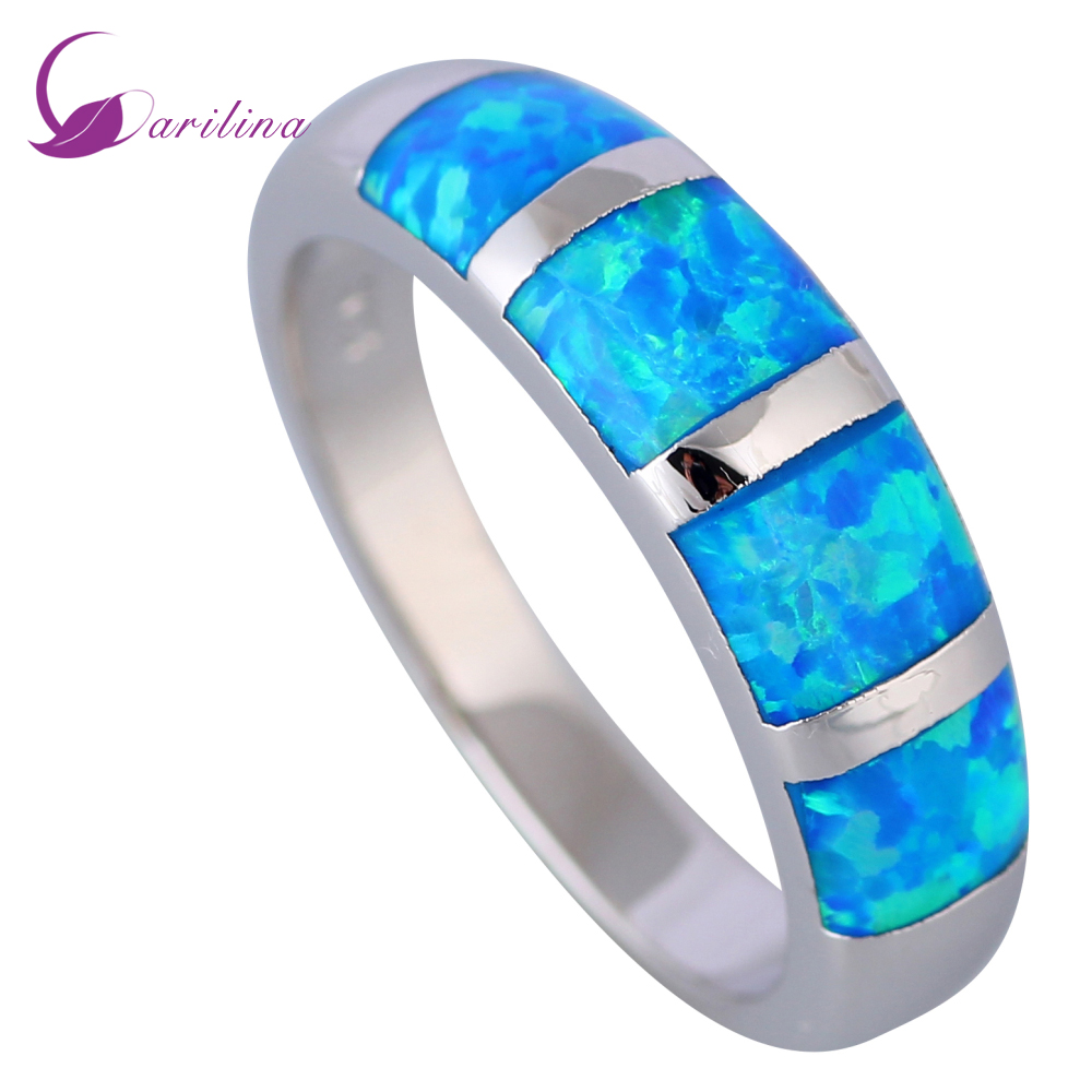 New 2019 Opal Rings Fine Jewelry Rings For Women Blue Fire Opal 925 Sterling Silver Filled Wedding Party Engagement Rings R519