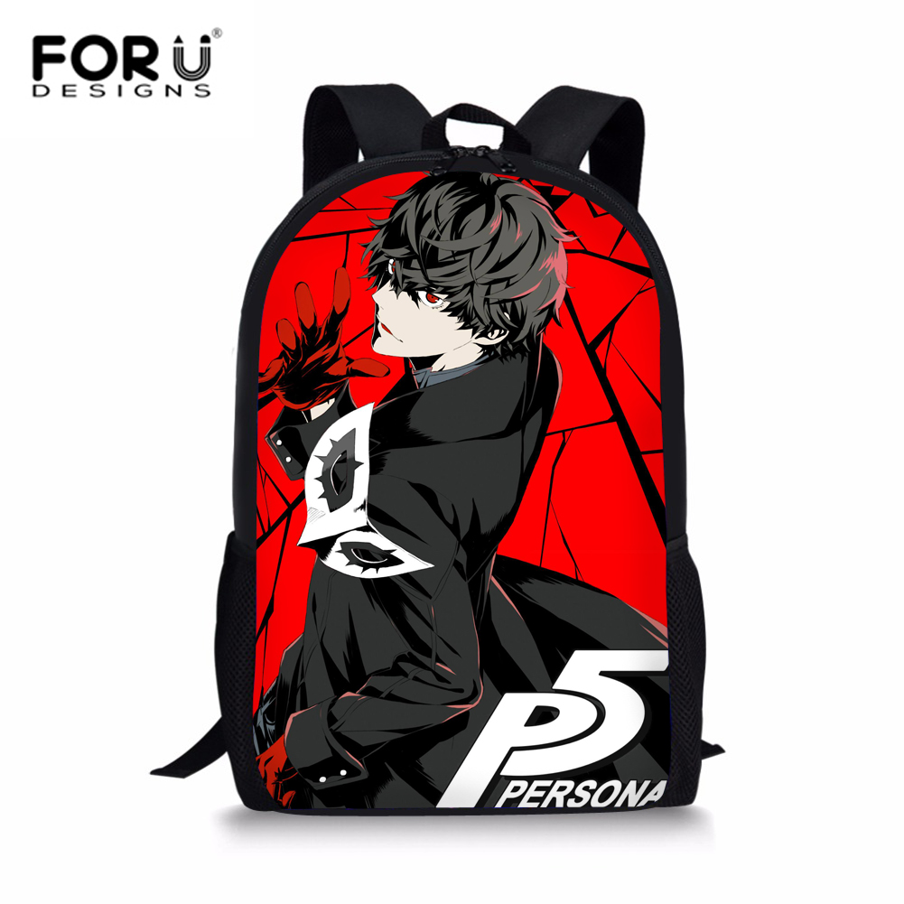 FORUDESIGNS Game <font><b>Persona</b></font> <font><b>5</b></font> <font><b>Backpack</b></font> Boys Children Schoolbag Joker Printing Primary School Daypack Travel Men's Shoulder Rucksack image