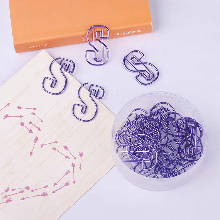 Design Purple S Shaped Metal Paperclips Paper Clips Decorative Stationery Clips Cute Paper Clips Metal Office Clips